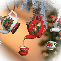Pouring Teapot Ornaments  Set of 6 (2 of each pattern)