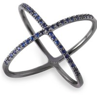 Blue Sapphire X Ring, Stone & Novelty Rings
