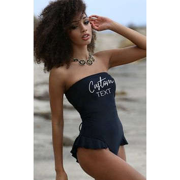 Custom Text Swimsuit - Hermosa One Piece