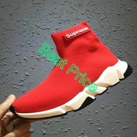 Official Balenciaga Speed Knit Official Trainers Face Red Contrasting Textured Multi Color Sole sneaker
