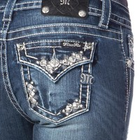 Pyramid Stud Border Midrise Boot Cut Jeans