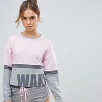 Boux Avenue Wake Up Boxy Sweat and Short Pajama Set at asos.com