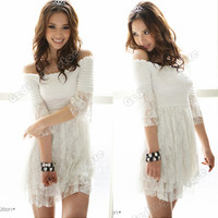 Pinup Women Lady Off Shoulder Lace Empire Stretch Summer Party Mini Dress White