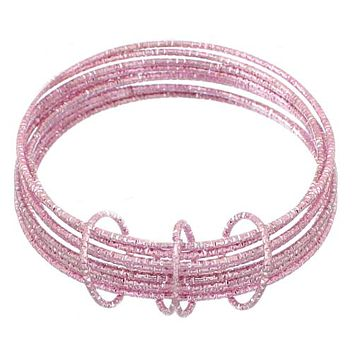 Pink Thin Multi Line Bangle Bracelets