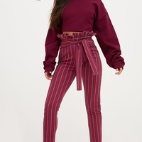 Burgundy Stripe Paperbag Skinny Trousers