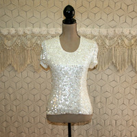 White Top Dressy Top Sequin Top Party Top XS Small Womens Clothing Short Sleeve Scoop Neck Sequin Blouse White Blouse