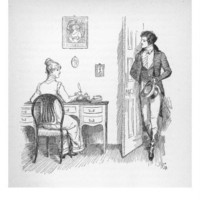 Mr. Darcy Enters a Room in Which Elizabeth Bennet is Seated at Her Writing Desk Giclee Print by Hugh Thomson at eu.art.com