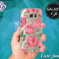 Vintage Floral Pattern Peonies Flowers Peony Tumblr Case for Clear Rubber Samsung Galaxy S6 Samsung Galaxy S6 Edge Galaxy S7 and S7 Edge