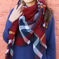 Wrapped In Wonder Red Plaid Frayed Edge Blanket Scarf