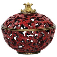 Covered Vine and Leaf Gold and Red Box - #2H322 | LampsPlus.com