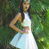 WHITE HOT HOLOGRAPHIC HALTER TOP *PRE ORDER*