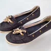 KEDS Teacup Boat Loafers Wool Shearling Fashion Sneakers Size 7.5 Gray