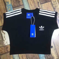 """ADIDAS"" Sports Casual  Three Stripe  Short Sleeve Shirt  Tee Top  G-YF-MLBKS"