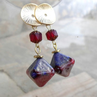 Lampwork Earrings, Gold Shine Holiday Fashion Glass Earrings, Unique Handmade Jewelry Christmas Gift for Her