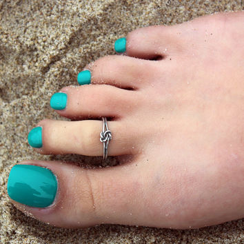 Vintage look sterling silver toe ring Infinity love knot design toe ring adjustable toe ring (T-04) knuckle ring