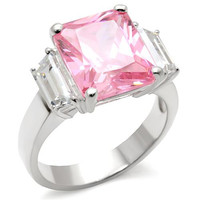 3 Stone Pink Princess CZ .925 Sterling Silver Ring