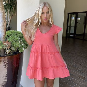 Life in Color Babydoll Dress in Coral