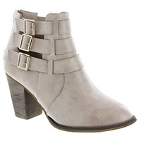 """Cage"" Leather Triple Buckle Stacked Heel Booties - Nude"