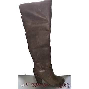 Breckelle Round Toe Over the Knee Brown Chunky Heel Riding Boots