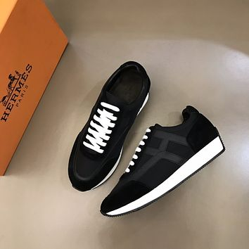 HERMES Men Fashion Boots fashionable Casual leather Breathable Sneakers Running Shoes0510cx