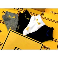 Fendi tide brand men and women models cotton small monsters solid color wild boat socks