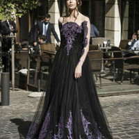 Unique Gothic Black Spring Prom Dresses Sale Long Sleeves Purple Crystal Beads A Line Tulle Long Formal Party Dress for Ladies