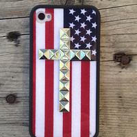 American Flag Silver Cross iPhone 4/4s Case | wildflower cases