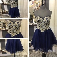 Navy Blue Homecoming Dress, Strapless Sweetheart Homecoming Dresses