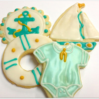 Nautical Baby Shower Sugar Cookies Sailor Anchor Sailboat Iced Decorated Cookies