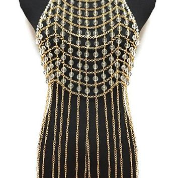 clear bead choker necklace tassel chain body chain armor vest