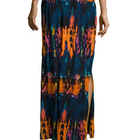 Tie-Dye Slit Maxi Skirt, Multi
