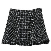 Black Plaid Pattern Middle Waist Tasseled Hem A-Line Mini Skirt