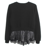 Clu Pullover with Lace Back in Black | Les Pommettes