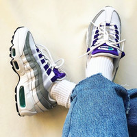 NIKE Air max Sneakers Running Sports Shoes white- purple- gray H-CSXY
