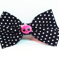 Polka Dot Skull Hair Bow from Kute As a Button Shop