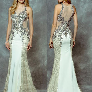 Colors 1696 Ivory Beaded Mesh Top Prom Evening Dress