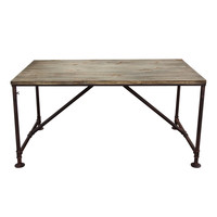 Portland Vintage Rectangular Dining Table with Weathered Grey Top and Rust Black Hand Painted Distressed Base