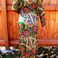 long ornate paisley dress. size S to M