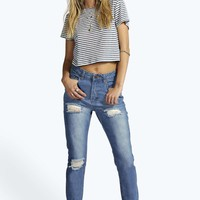 Eve High Waisted Mom Thigh & Knee Rips Jeans
