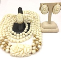 14k Yellow Gold White Coral Vintage Estate Necklace, Ring Earrings Set Parure