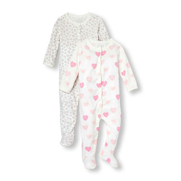 Baby Girls Layette Long Sleeve 'My Mommy Loves Me' Heart Print And Leopard Print Sleep And Play 2-Pack | The Children's Place