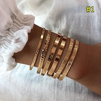 Four-piece combination metal bracelet jewelry golden creative open bracelet female mixed couple models