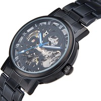 Black Mens Skeleton WristWatch Stainless Steel Band Steampunk Casual Automatic Skeleton Mechanical Watches Luxury Timepiece