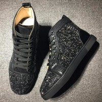 Cl Christian Louboutin High Rhinestone Style #1926 Sneakers Fashion Shoes - Best Deal Online