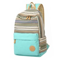 Vintage Fashion Tribal Stripes Bohemian Womens Canvas Backpack
