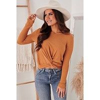Thankful For You Twist Knot Top (Camel)