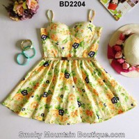 Floral Multi Color Bustier Dress with Adjustable Straps Size S/M - BD2204 - Smoky Mountain Boutique