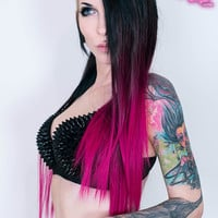 Ombré Black>Pink Dip Dyed 7pcs Straight Clip-In Hair Extensions