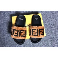 Fendi Fashion Brown Fur Women Fashion Slipper Flats Shoes