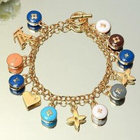 LV Woman Fashion Logo Plated Geometry Pattern Bracelet For Best Gift